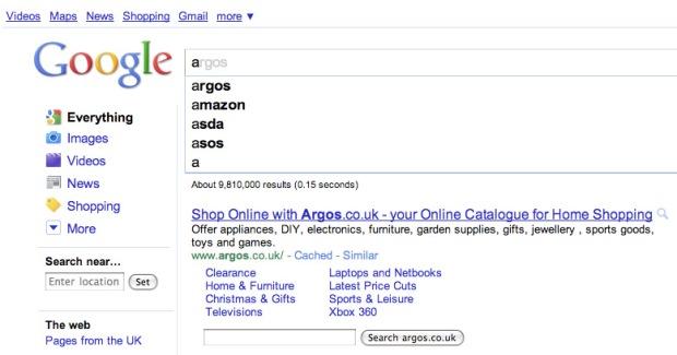 Google Instant UK alphabet
