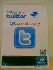 Epsom Library Twitter ad