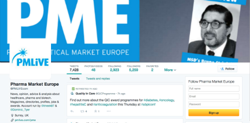 Twitter new profile Pharmaceutical Market Europe PME