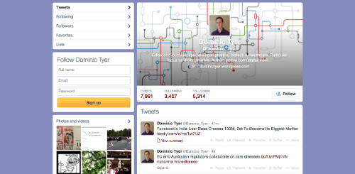 Twitter old profile design Dominic Tyer