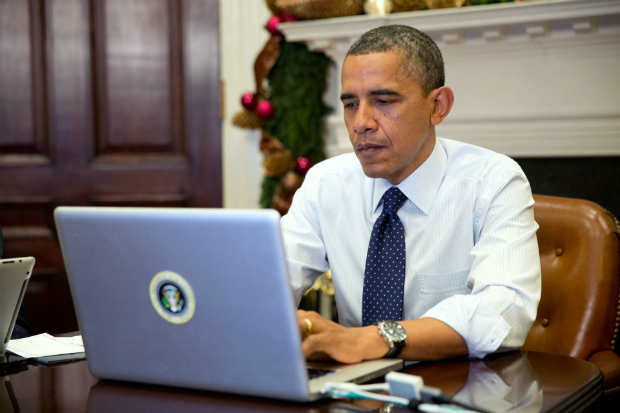 President Barack Obama takes part in a Twitter Q&A session, 2012